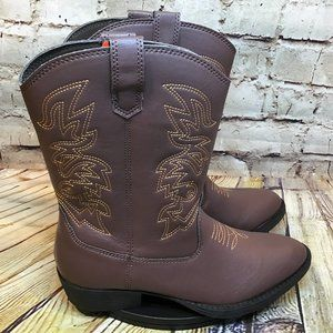 Deer Stags Youth Brown Kids Western Cowboy Boots